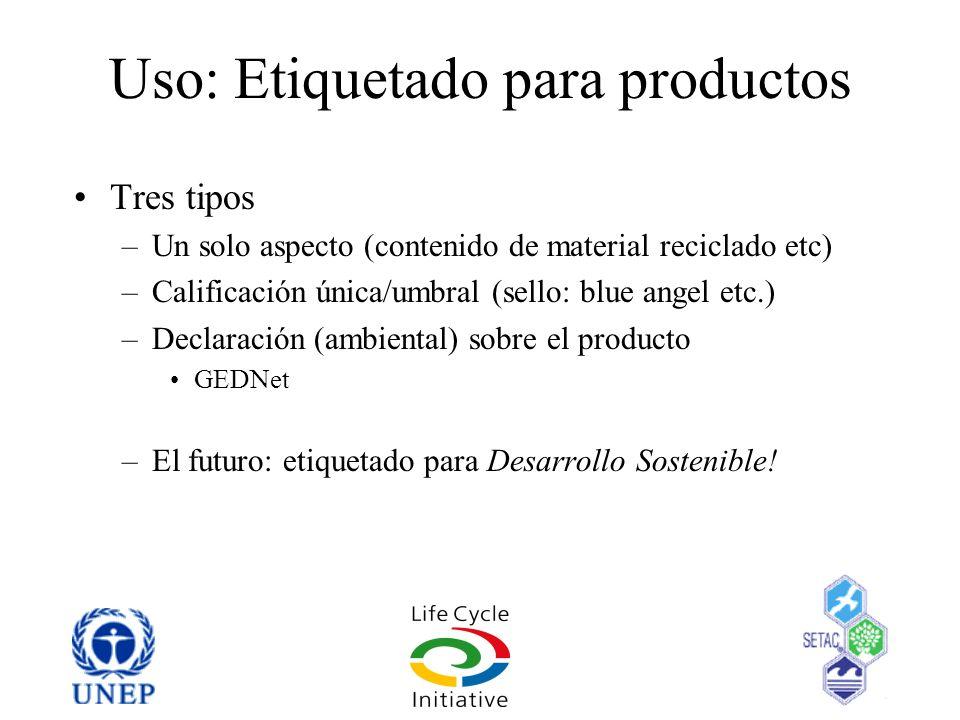 Uso: Etiquetado para productos Tres tipos –Un solo aspecto (contenido de material reciclado etc) –Calificación única/umbral (sello: blue angel etc.) –