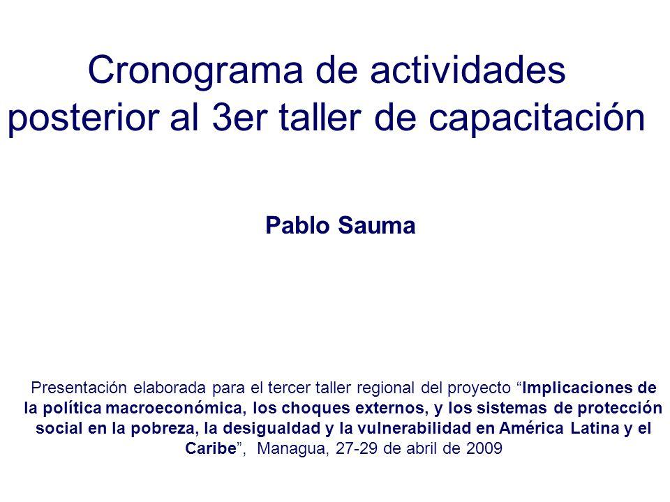 Cronograma de actividades posterior al 3er taller de capacitación Pablo Sauma Presentación elaborada para el tercer taller regional del proyecto Impli