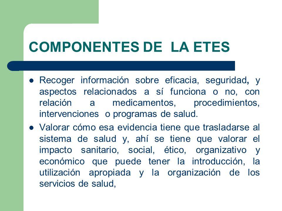 COMPONENTES DE LA ETES Recoger información sobre eficacia, seguridad, y aspectos relacionados a sí funciona o no, con relación a medicamentos, procedi