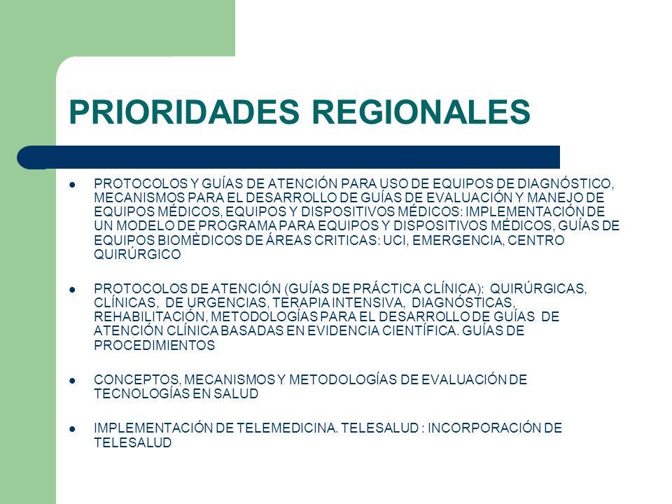 PRIORIDADES REGIONALES PROTOCOLOS Y GUÍAS DE ATENCIÓN PARA USO DE EQUIPOS DE DIAGNÓSTICO, MECANISMOS PARA EL DESARROLLO DE GUÍAS DE EVALUACIÓN Y MANEJ