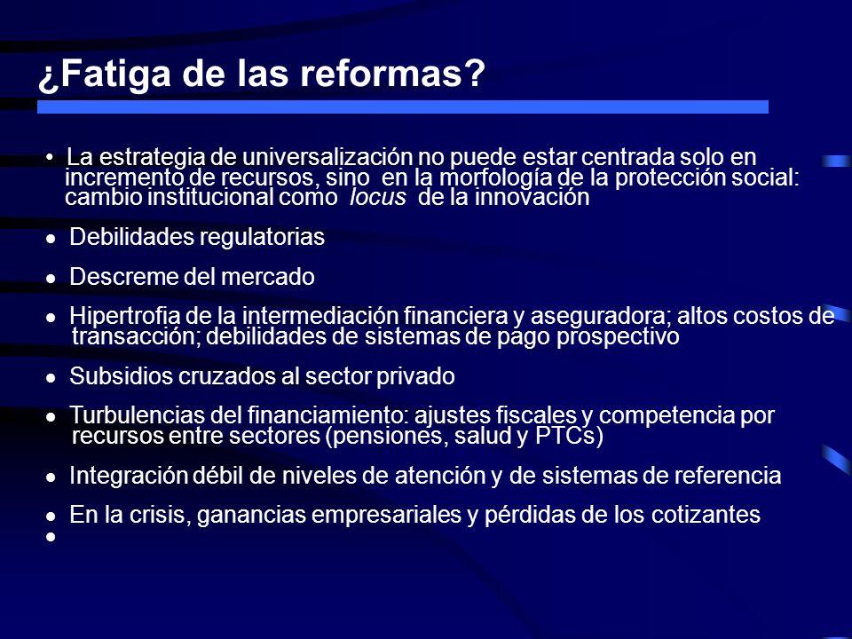 ¿Fatiga de las reformas? La estrategia de universalización no puede estar centrada solo en incremento de recursos, sino en la morfología de la protecc
