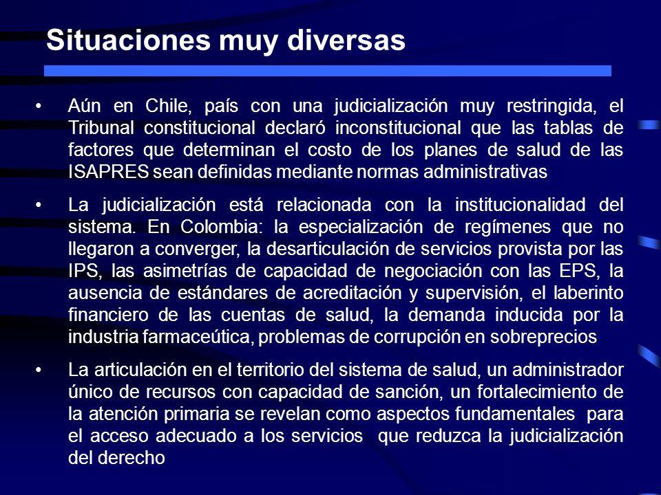 Situaciones muy diversas Aún en Chile, país con una judicialización muy restringida, el Tribunal constitucional declaró inconstitucional que las tabla