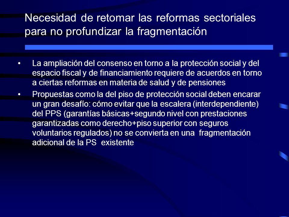 Necesidad de retomar las reformas sectoriales para no profundizar la fragmentación La ampliación del consenso en torno a la protección social y del es