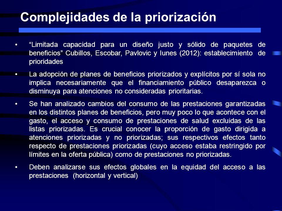 Complejidades de la priorización Limitada capacidad para un diseño justo y sólido de paquetes de beneficios Cubillos, Escobar, Pavlovic y Iunes (2012)