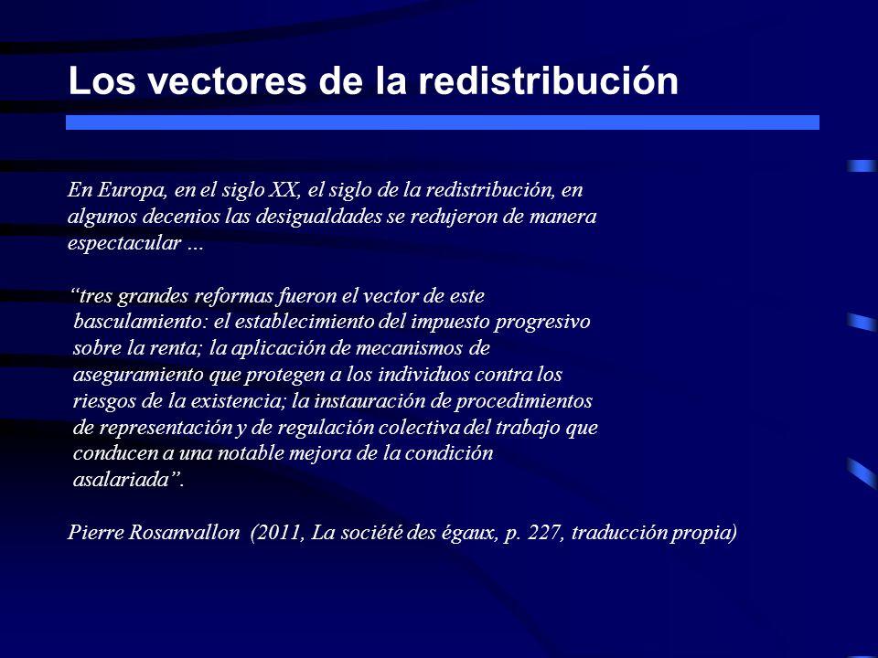 Los vectores de la redistribución En Europa, en el siglo XX, el siglo de la redistribución, en algunos decenios las desigualdades se redujeron de mane