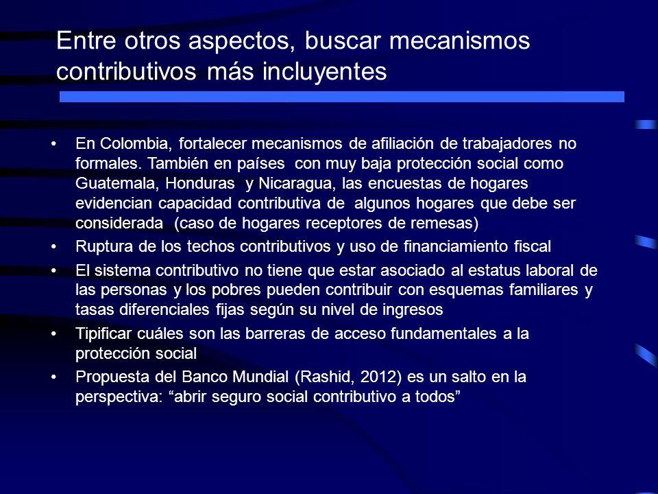 Entre otros aspectos, buscar mecanismos contributivos más incluyentes En Colombia, fortalecer mecanismos de afiliación de trabajadores no formales. Ta