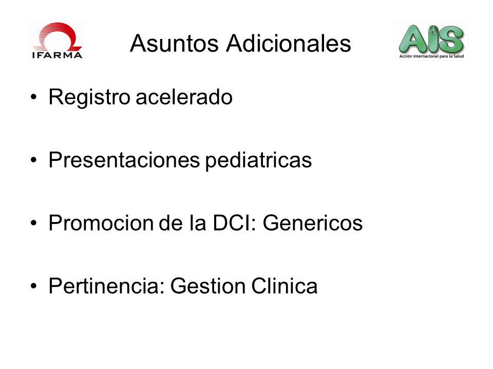 Asuntos Adicionales Registro acelerado Presentaciones pediatricas Promocion de la DCI: Genericos Pertinencia: Gestion Clinica