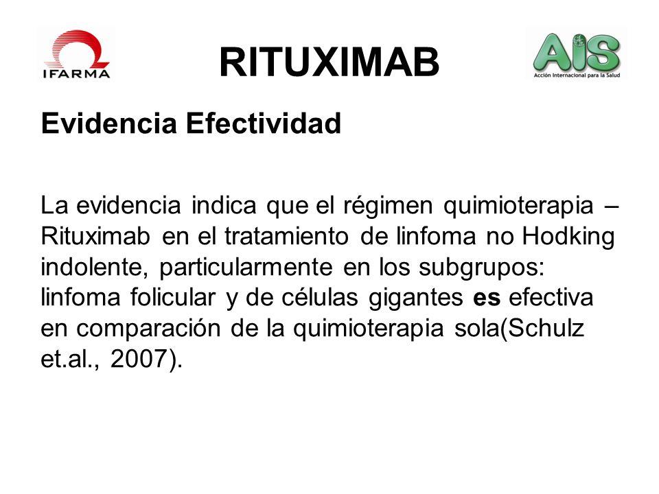 RITUXIMAB Evidencia Efectividad La evidencia indica que el régimen quimioterapia – Rituximab en el tratamiento de linfoma no Hodking indolente, partic