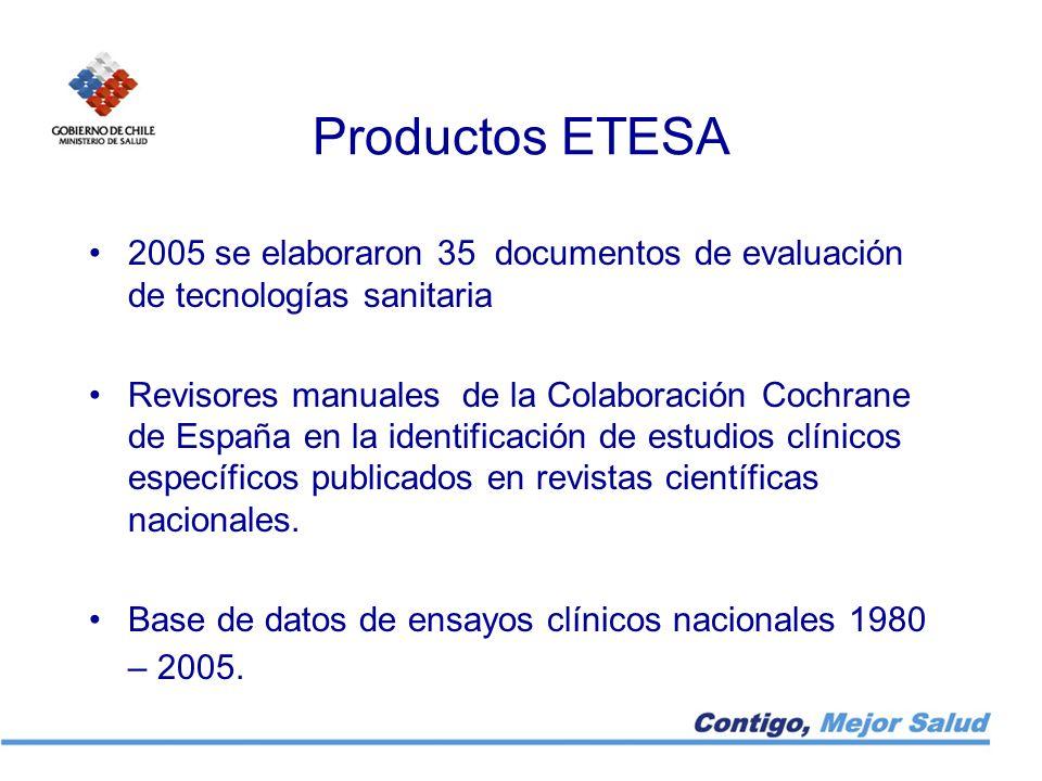Productos ETESA 2005 se elaboraron 35 documentos de evaluación de tecnologías sanitaria Revisores manuales de la Colaboración Cochrane de España en la