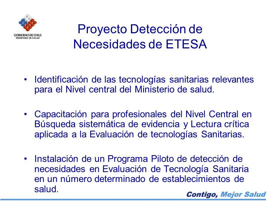 Proyecto Detección de Necesidades de ETESA Identificación de las tecnologías sanitarias relevantes para el Nivel central del Ministerio de salud. Capa
