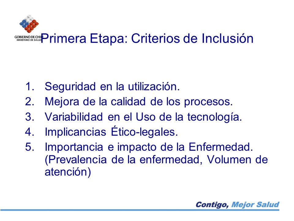 Primera Etapa: Criterios de Inclusión 1.Seguridad en la utilización. 2.Mejora de la calidad de los procesos. 3.Variabilidad en el Uso de la tecnología