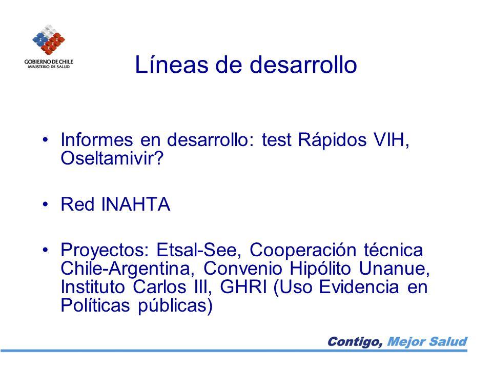 Líneas de desarrollo Informes en desarrollo: test Rápidos VIH, Oseltamivir? Red INAHTA Proyectos: Etsal-See, Cooperación técnica Chile-Argentina, Conv