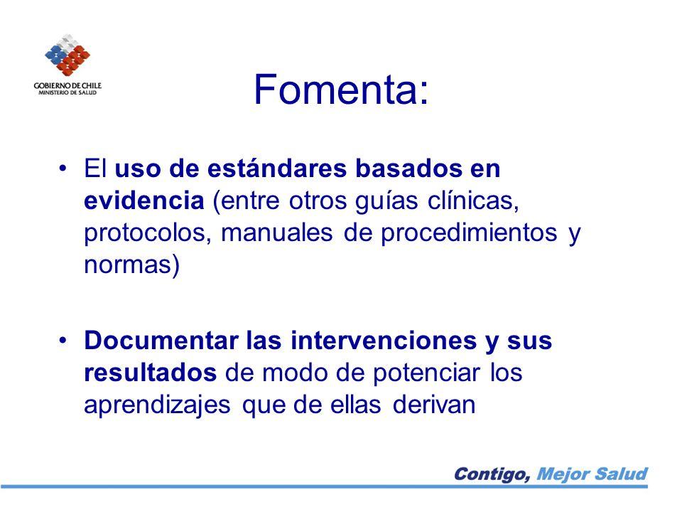 Fomenta: El uso de estándares basados en evidencia (entre otros guías clínicas, protocolos, manuales de procedimientos y normas) Documentar las interv