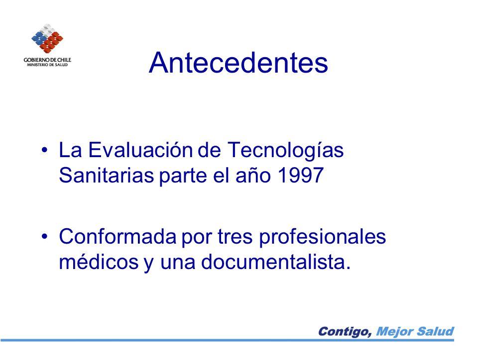 Antecedentes La Evaluación de Tecnologías Sanitarias parte el año 1997 Conformada por tres profesionales médicos y una documentalista.