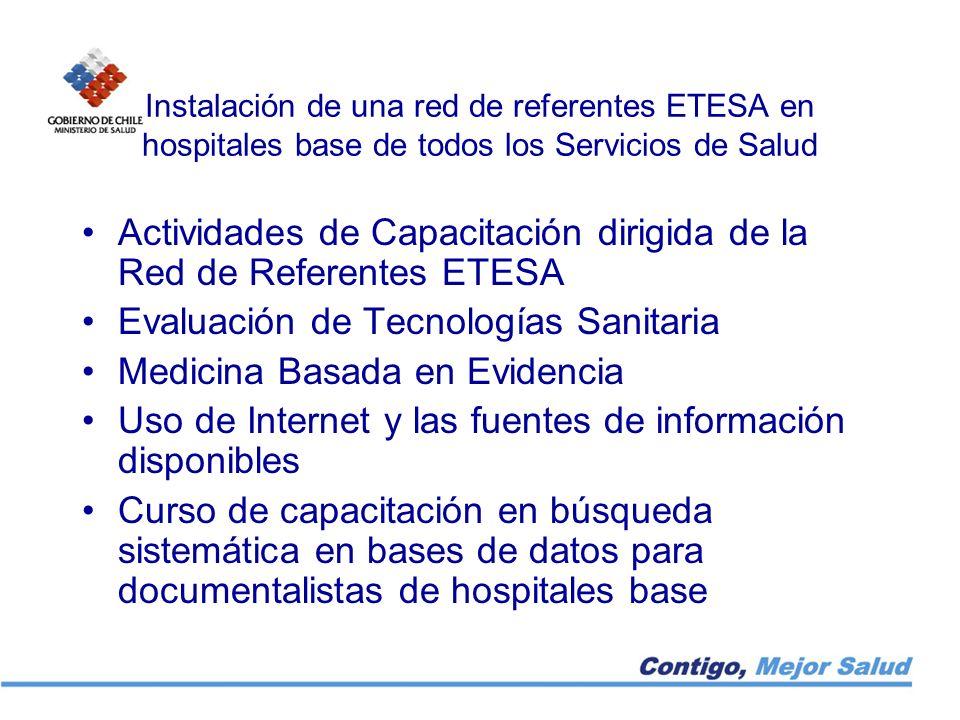 Instalación de una red de referentes ETESA en hospitales base de todos los Servicios de Salud Actividades de Capacitación dirigida de la Red de Refere