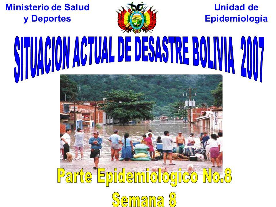 Oruro (1%) 514 Familias Damnificadas La Paz (17%) 8153 Familias Damnificadas Cochabamba (5%) 2696 Familias Damnificadas Santa Cruz (33%) 16351 Familias Damnificadas Tarija (7%) 3227 Familias Damnificadas Chuquisaca (9%) 4219 Familias Damnificadas Beni (9%) 4619 Familias Damnificadas Potosi (19%) Familias Damnificadas Al 7 de Febrero 2007