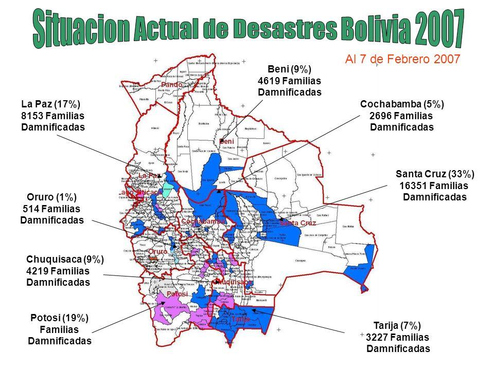 Oruro (1%) 514 Familias Damnificadas La Paz (17%) 8153 Familias Damnificadas Cochabamba (5%) 2696 Familias Damnificadas Santa Cruz (33%) 16351 Familia
