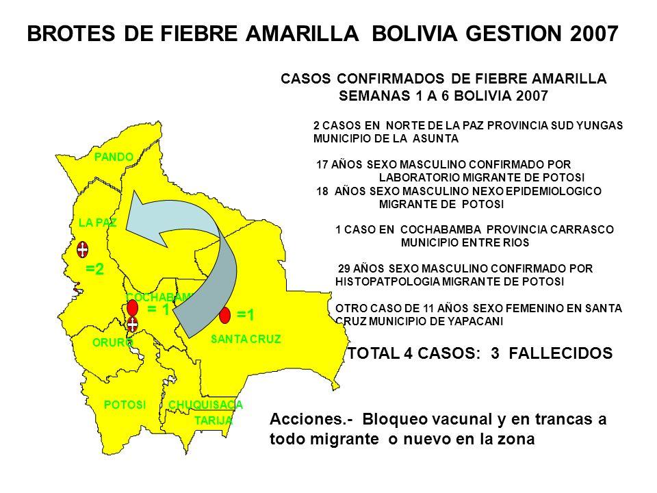 CASOS CONFIRMADOS DE FIEBRE AMARILLA SEMANAS 1 A 6 BOLIVIA 2007 2 CASOS EN NORTE DE LA PAZ PROVINCIA SUD YUNGAS MUNICIPIO DE LA ASUNTA 17 AÑOS SEXO MA