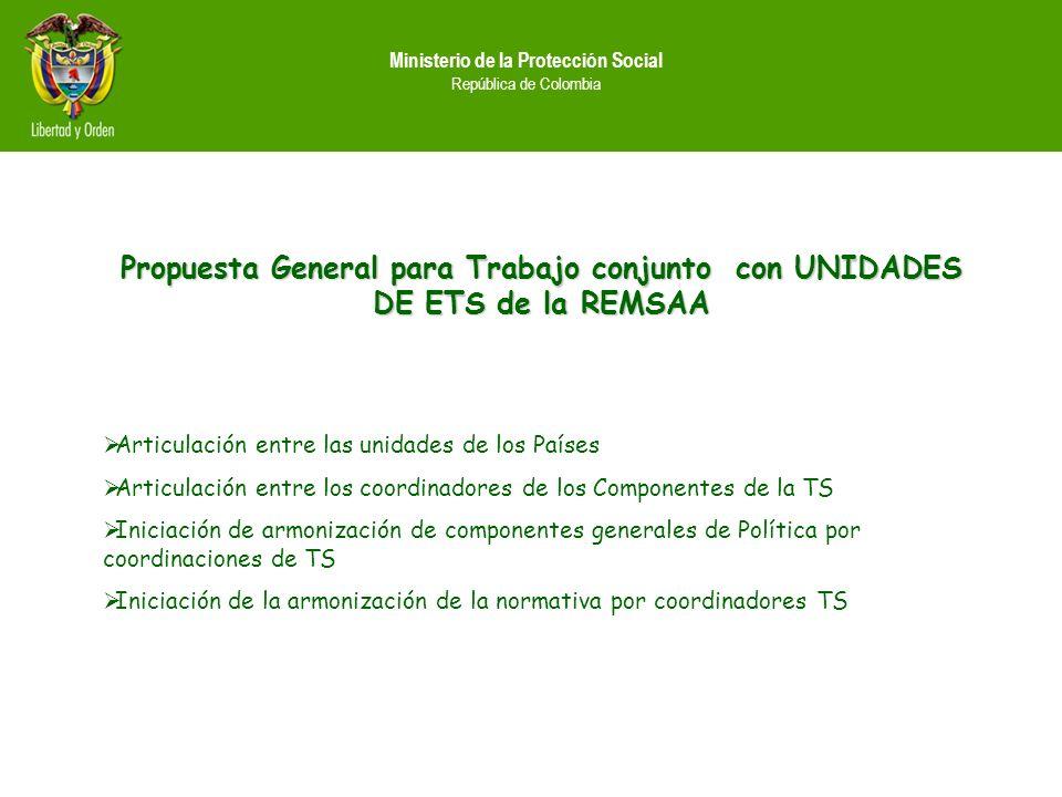 Ministerio de la Protección Social República de Colombia Propuesta General para Trabajo conjunto con UNIDADES DE ETS de la REMSAA Articulación entre l