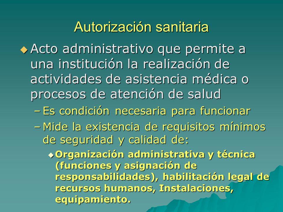 Autorización sanitaria Acto administrativo que permite a una institución la realización de actividades de asistencia médica o procesos de atención de