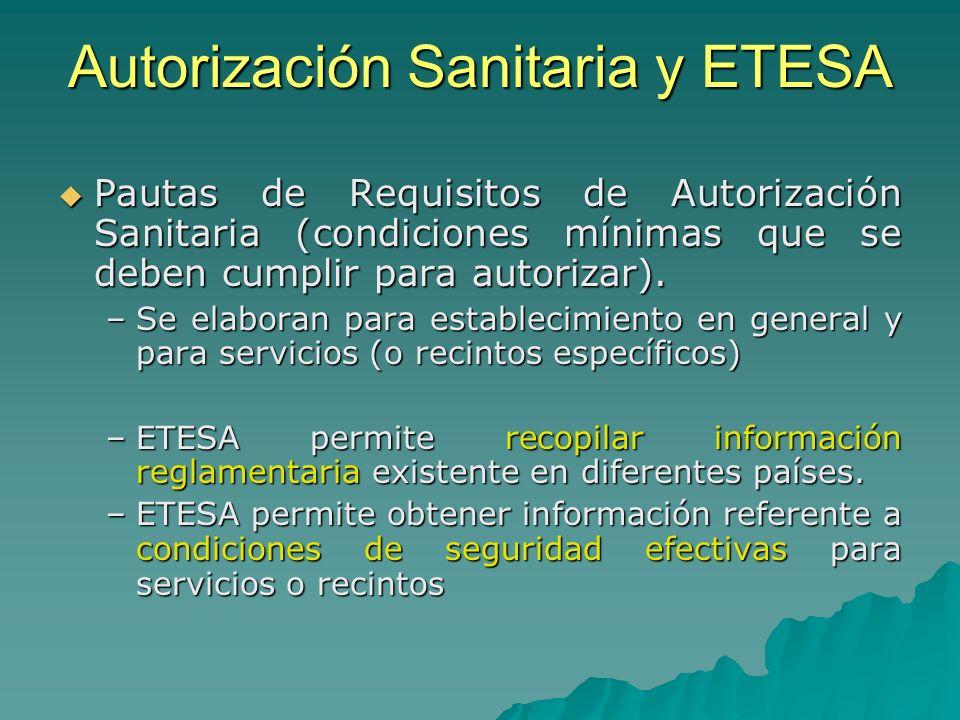 Autorización Sanitaria y ETESA Pautas de Requisitos de Autorización Sanitaria (condiciones mínimas que se deben cumplir para autorizar). Pautas de Req