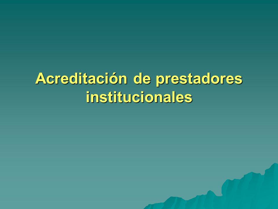 Acreditación de prestadores institucionales