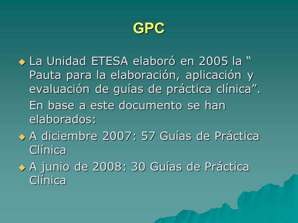 GPC La Unidad ETESA elaboró en 2005 la Pauta para la elaboración, aplicación y evaluación de guías de práctica clínica. La Unidad ETESA elaboró en 200