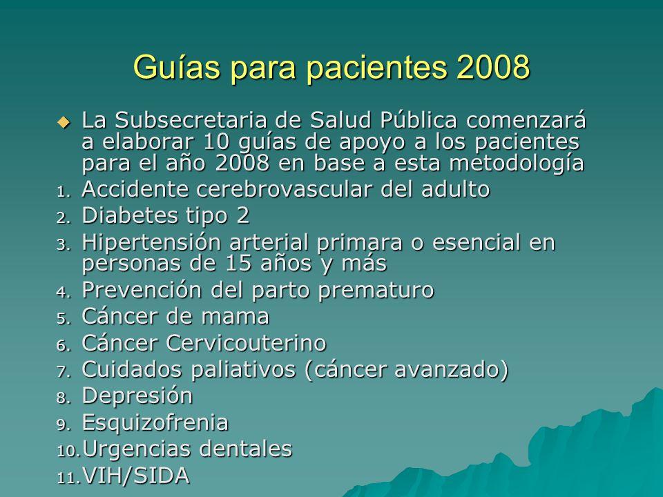 Guías para pacientes 2008 La Subsecretaria de Salud Pública comenzará a elaborar 10 guías de apoyo a los pacientes para el año 2008 en base a esta met