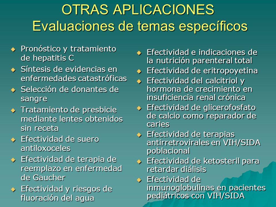 OTRAS APLICACIONES Evaluaciones de temas específicos Pronóstico y tratamiento de hepatitis C Pronóstico y tratamiento de hepatitis C Síntesis de evide