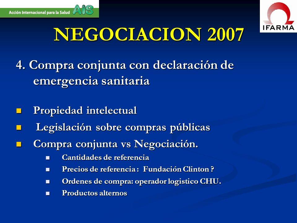 NEGOCIACION 2007 4. Compra conjunta con declaración de emergencia sanitaria Propiedad intelectual Propiedad intelectual Legislación sobre compras públ