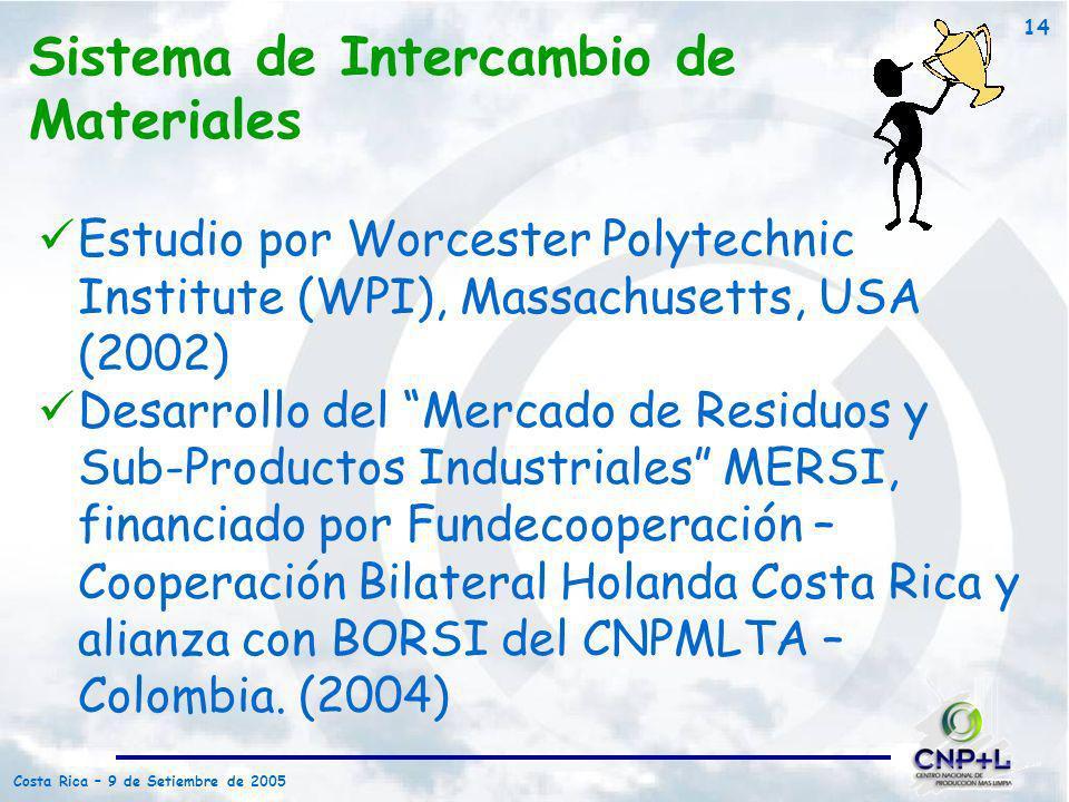 Costa Rica – 9 de Setiembre de 2005 14 Sistema de Intercambio de Materiales Estudio por Worcester Polytechnic Institute (WPI), Massachusetts, USA (200