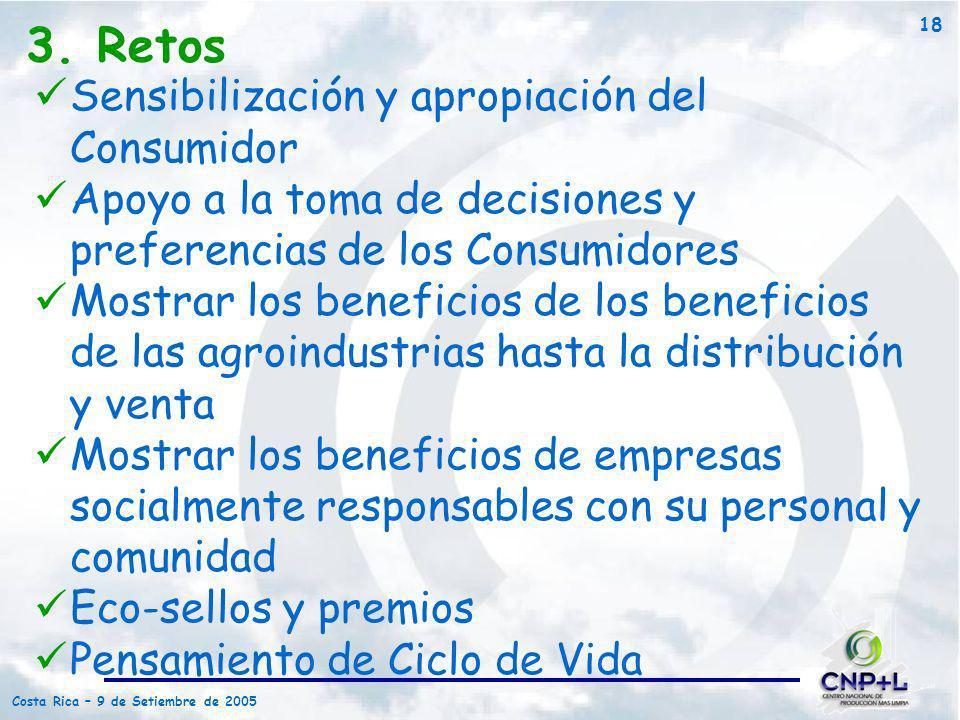 Costa Rica – 9 de Setiembre de 2005 18 3. Retos Sensibilización y apropiación del Consumidor Apoyo a la toma de decisiones y preferencias de los Consu