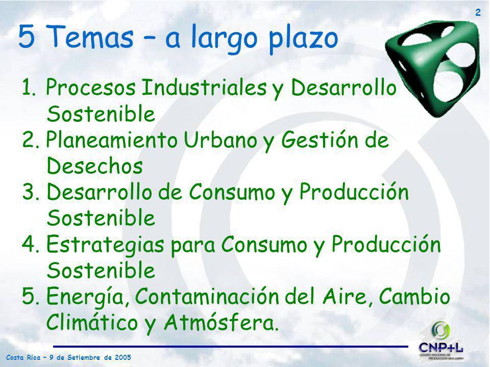Costa Rica – 9 de Setiembre de 2005 2 5 Temas – a largo plazo 1.Procesos Industriales y Desarrollo Sostenible 2.Planeamiento Urbano y Gestión de Desec