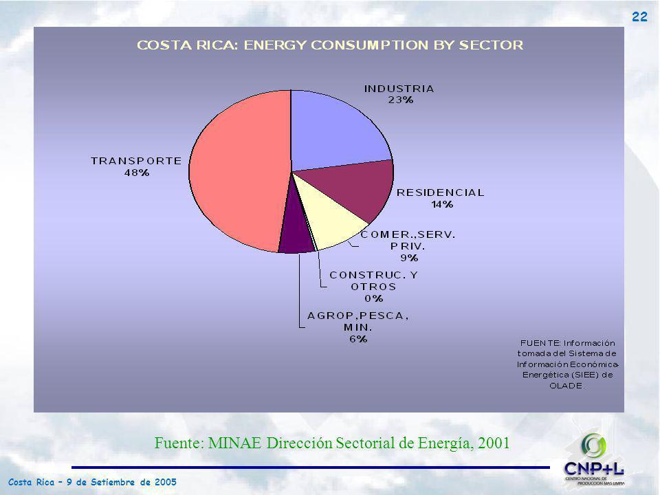Costa Rica – 9 de Setiembre de 2005 22 Fuente: MINAE Dirección Sectorial de Energía, 2001