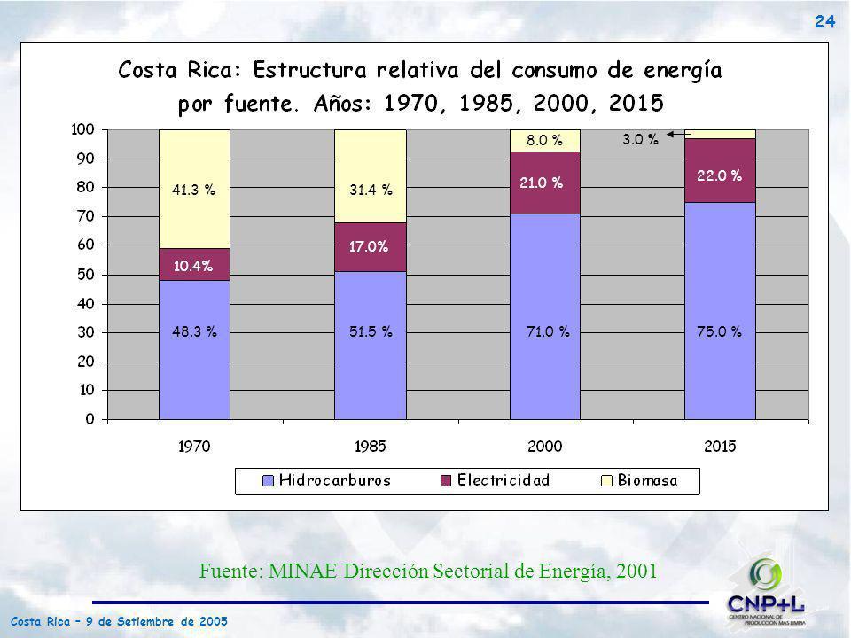 Costa Rica – 9 de Setiembre de 2005 24 48.3 % 10.4% 41.3 % 51.5 % 17.0% 31.4 % 8.0 % 21.0 % 71.0 %75.0 % 22.0 % 3.0 % Fuente: MINAE Dirección Sectoria