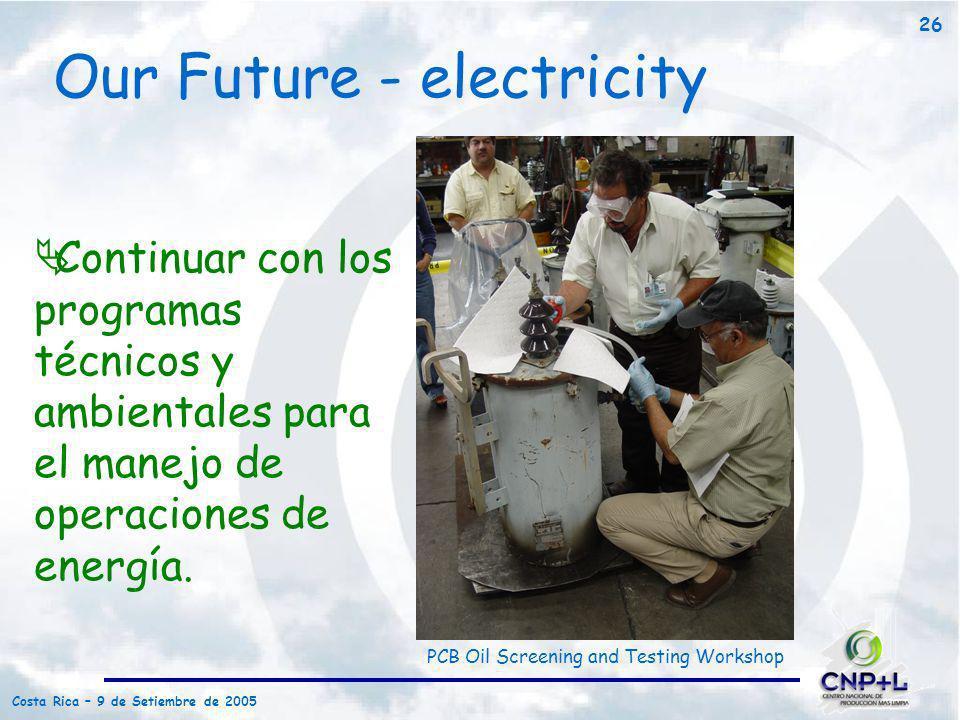Costa Rica – 9 de Setiembre de 2005 26 Continuar con los programas técnicos y ambientales para el manejo de operaciones de energía. PCB Oil Screening