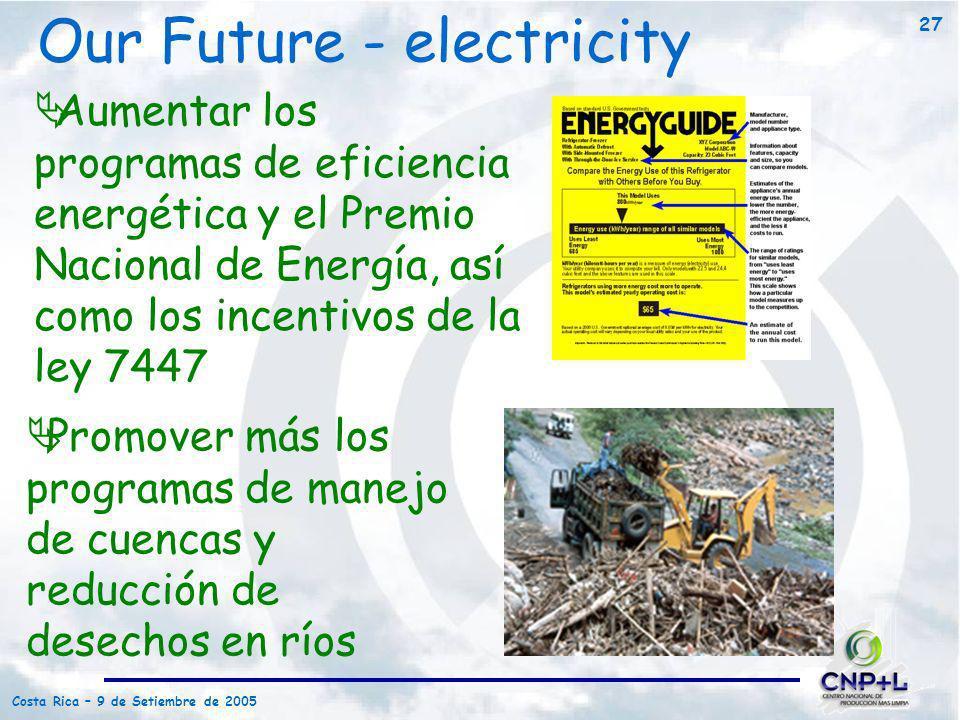Costa Rica – 9 de Setiembre de 2005 27 Promover más los programas de manejo de cuencas y reducción de desechos en ríos Aumentar los programas de efici