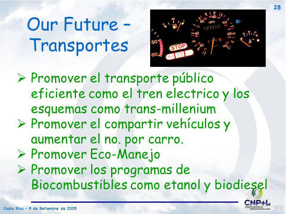 Costa Rica – 9 de Setiembre de 2005 28 Promover el transporte público eficiente como el tren electrico y los esquemas como trans-millenium Promover el