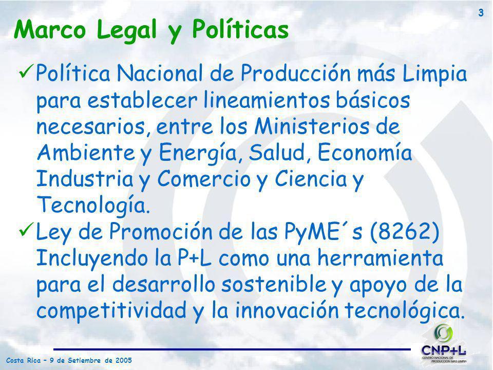 Costa Rica – 9 de Setiembre de 2005 3 Marco Legal y Políticas Política Nacional de Producción más Limpia para establecer lineamientos básicos necesari