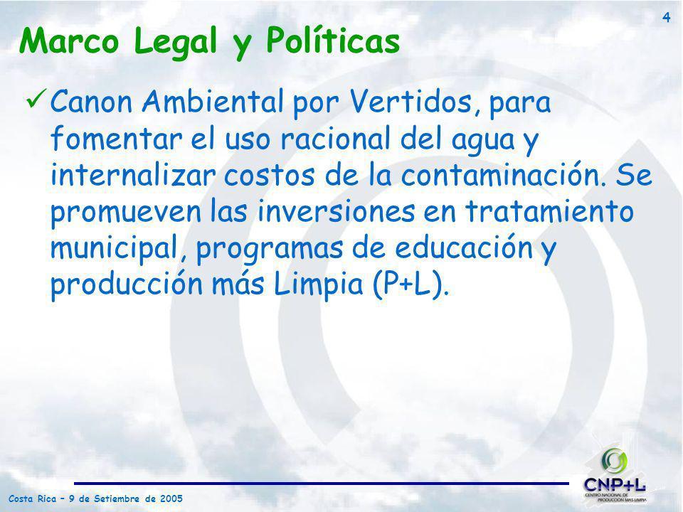 Costa Rica – 9 de Setiembre de 2005 4 Canon Ambiental por Vertidos, para fomentar el uso racional del agua y internalizar costos de la contaminación.