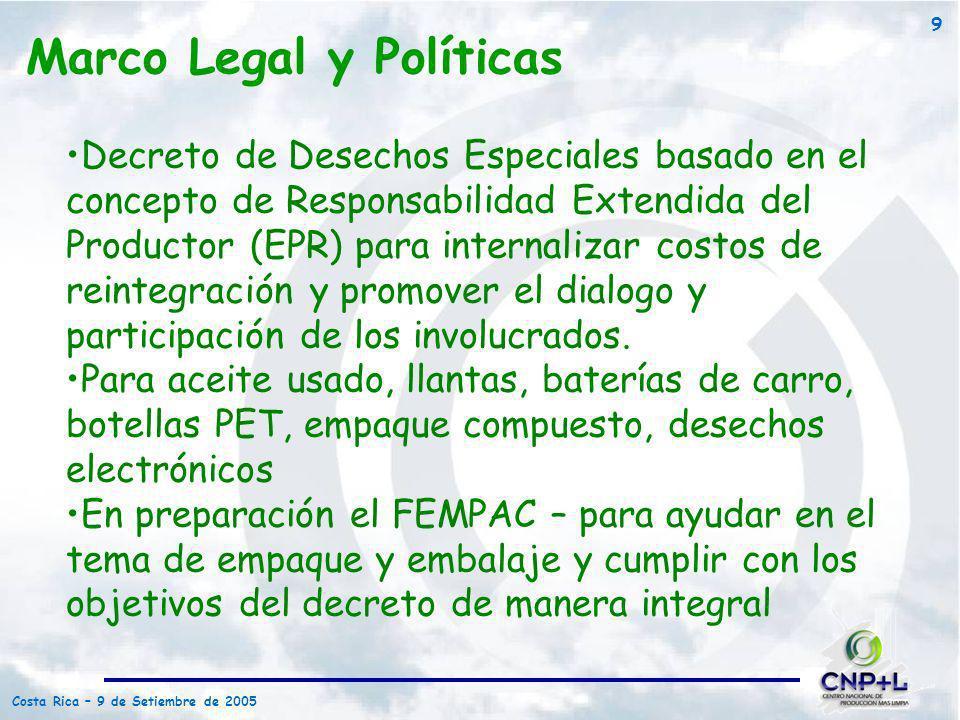 Costa Rica – 9 de Setiembre de 2005 9 Decreto de Desechos Especiales basado en el concepto de Responsabilidad Extendida del Productor (EPR) para inter