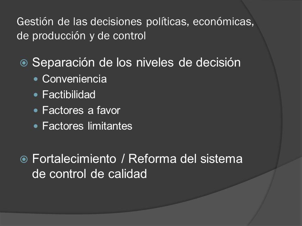 Gestión de las decisiones políticas, económicas, de producción y de control Separación de los niveles de decisión Conveniencia Factibilidad Factores a favor Factores limitantes Fortalecimiento / Reforma del sistema de control de calidad