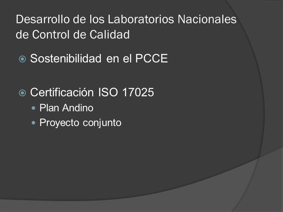 Desarrollo de los Laboratorios Nacionales de Control de Calidad Sostenibilidad en el PCCE Certificación ISO 17025 Plan Andino Proyecto conjunto