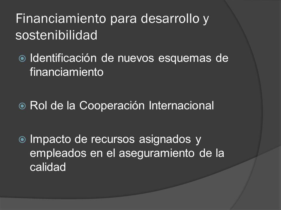 Financiamiento para desarrollo y sostenibilidad Identificación de nuevos esquemas de financiamiento Rol de la Cooperación Internacional Impacto de recursos asignados y empleados en el aseguramiento de la calidad