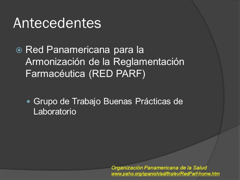 Antecedentes Red Panamericana para la Armonización de la Reglamentación Farmacéutica (RED PARF) Grupo de Trabajo Buenas Prácticas de Laboratorio Organización Panamericana de la Salud www.paho.org/spanish/ad/ths/ev/RedParf-home.htm