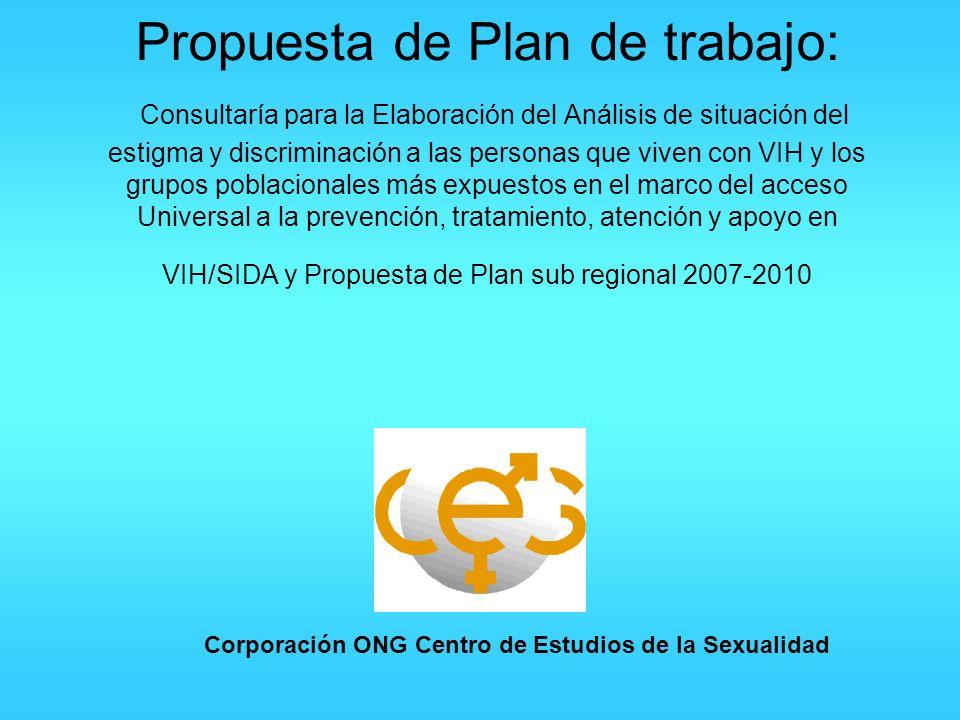 Propuesta de Plan de trabajo: Consultaría para la Elaboración del Análisis de situación del estigma y discriminación a las personas que viven con VIH