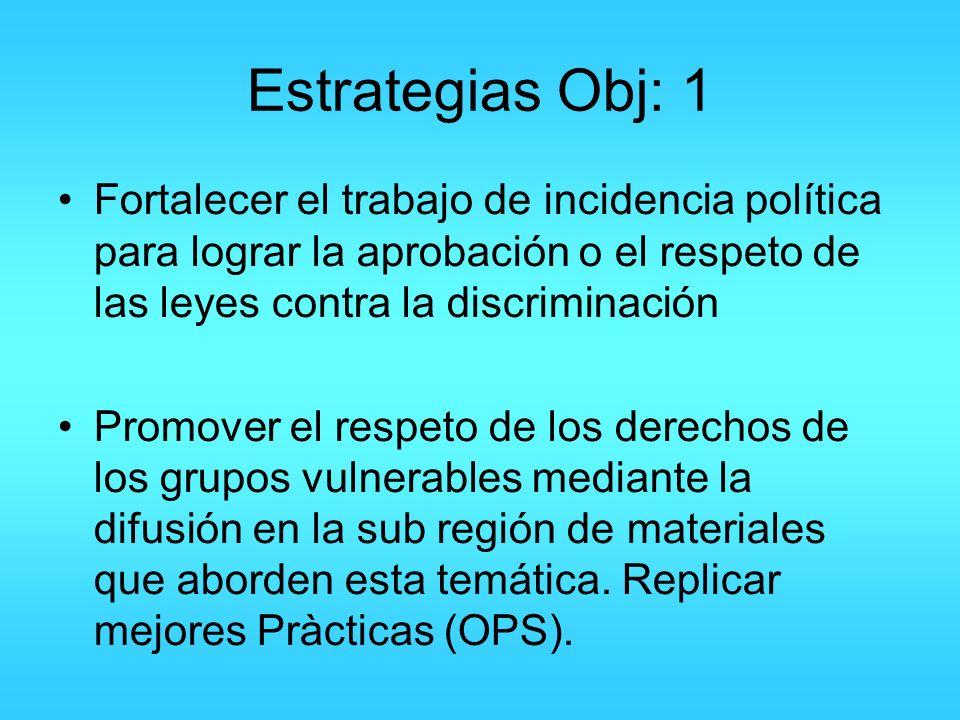 Estrategias Obj: 1 Fortalecer el trabajo de incidencia política para lograr la aprobación o el respeto de las leyes contra la discriminación Promover