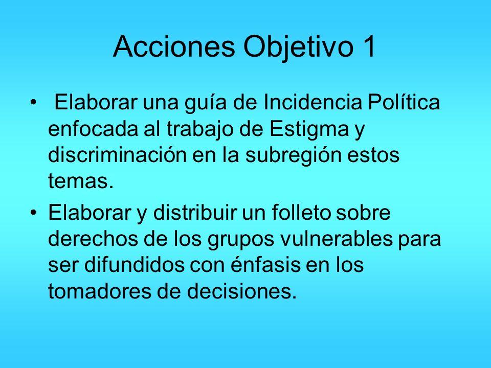Acciones Objetivo 1 Elaborar una guía de Incidencia Política enfocada al trabajo de Estigma y discriminación en la subregión estos temas. Elaborar y d