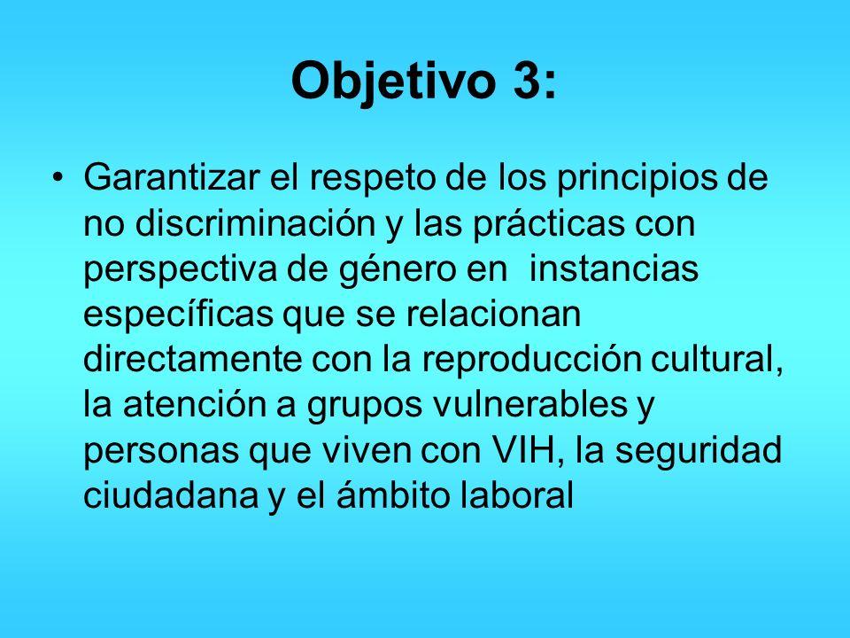 Objetivo 3: Garantizar el respeto de los principios de no discriminación y las prácticas con perspectiva de género en instancias específicas que se re