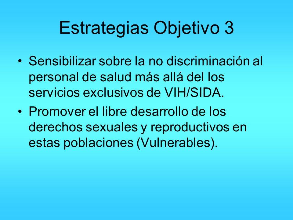 Estrategias Objetivo 3 Sensibilizar sobre la no discriminación al personal de salud más allá del los servicios exclusivos de VIH/SIDA. Promover el lib